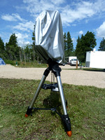 Scope covered Televue NP127is Telescope on a Celestron CGEM DX Mount & Tripod